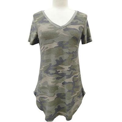 Yahada Women's Plus Size Camo Print Shirt
