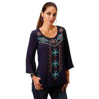 Roper Women's Navy Aztec Embroidered Top