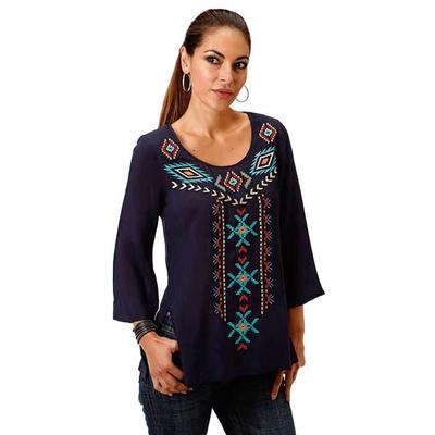 Roper Women's Plus Navy Aztec Embroidered Top