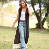 Wrangler Women's Black Sleeveless Duster With Crochet Trim