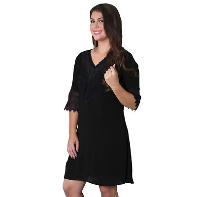 Wrangler Women's Black V- Neck Dress With Crochet Trim