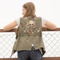 En Creme Women's Embroidered Military Vest