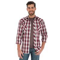 Wrangler Men's Red and Khaki Snap Shirt