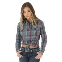 Wrangler Women's Purple and Teal Plaid Shirt