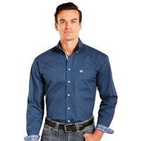 Panhandle Slim Men's Navy And White Rough Stock Shirt