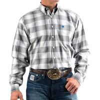 Cinch Men's Grey and Royal Ombre Plaid Shirt