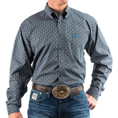 Cinch Men's Grey And Royal Geometric Shirt