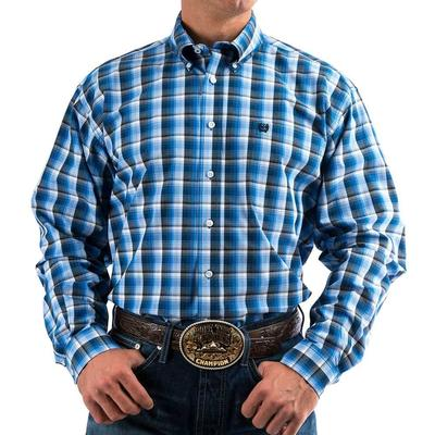 Cinch Men's Long Sleeve Navy And Gray Plaid Button Shirt