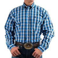 Cinch Men's Long Sleeve Navy And Gray Plaid Button Shirt