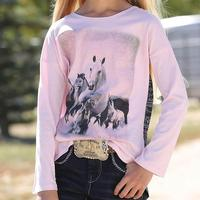 Cruel Girl Pink Horse Print Dolman Sleeve Youth Tee