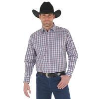 Wrangler Men's Navy And Orange Plaid Wrinkle Resist Shirt