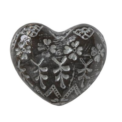 White Embossed Stoneware Heart