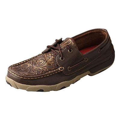 Twisted X Women's Brown Embossed Flower Moccasin Shoes