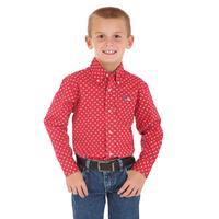 Wrangler Boy's 20X Red Print Shirt