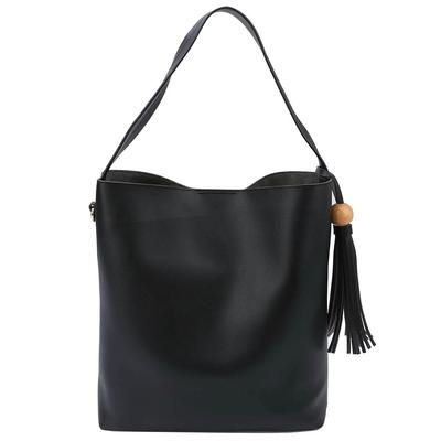 2-Piece Single Strap Slouchy Tote Bag Set BLK
