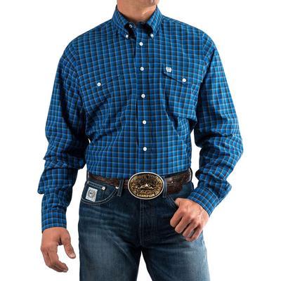 Cinch Men's Blue And Black Plaid Double Pocket Shirt