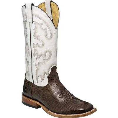 Tony Lama Men's Chocolate Brown Vaca White Boots