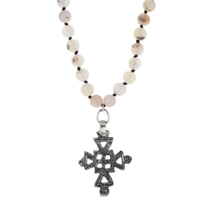 Amazonite Beads With Cross Pendent Necklace