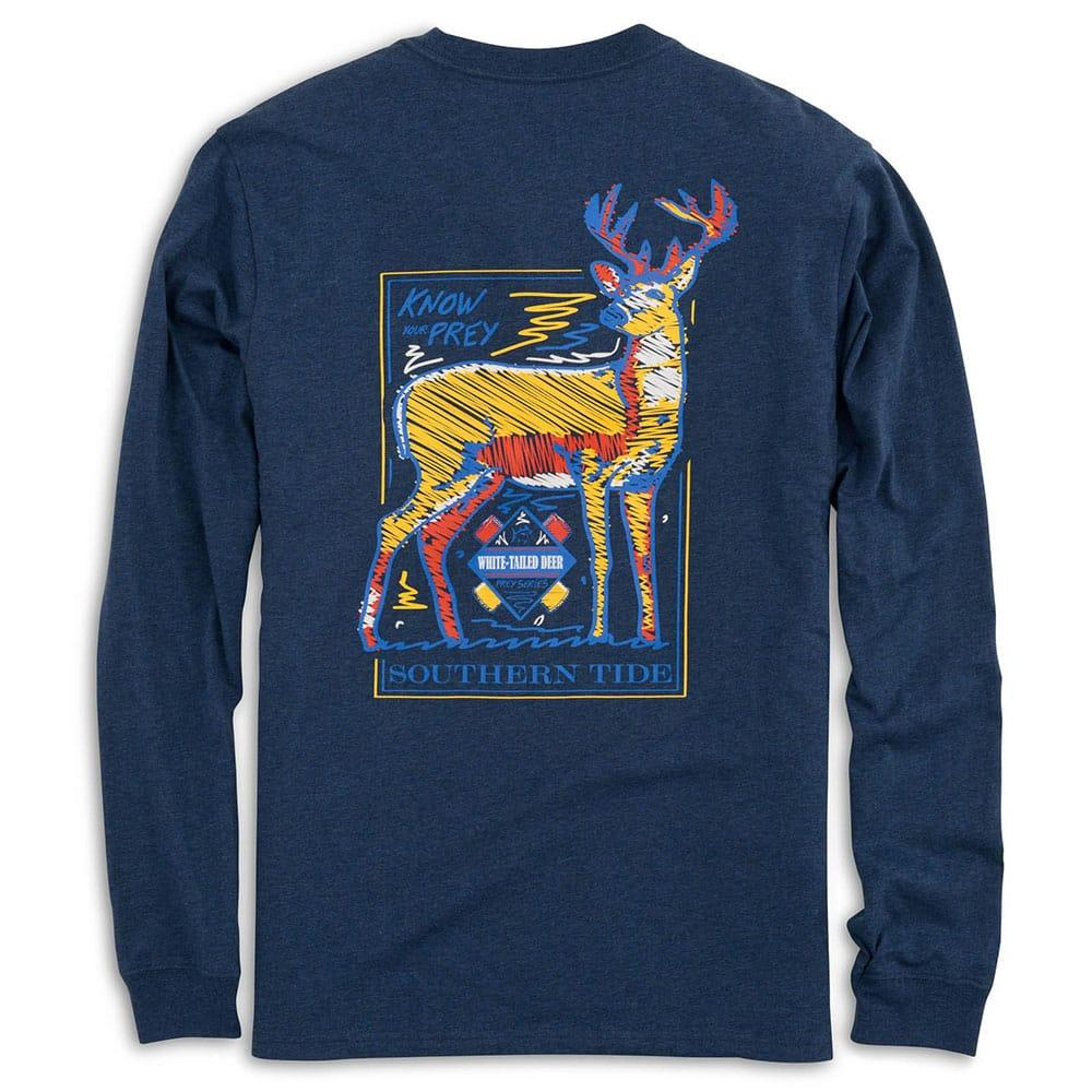 Southern Tide Men s Long Sleeve Know Your Prey Deer T Shirt