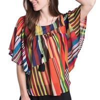 Ivy Jane Women's Multi Stripe Top With Flounce Sleeves