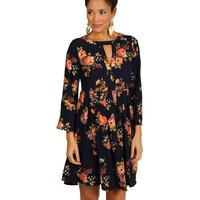 Uncle Frank Women's Blue Floral Dress With Empire Waist