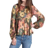 Ivy Jane Women's Olive Green Floral Top