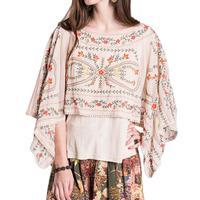 Ivy Jane Women's Knit Top With Georgette Embroidered Overlay