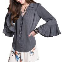 Ivy Jane Women's Charcoal Top with Ruffle Sleeves