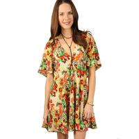 Uncle Frank Women's Botanical Dress With Flutter Sleeves
