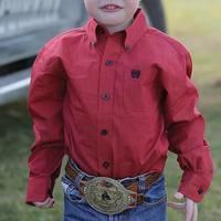 Cinch Boy's Red Print Long Sleeve Button Shirt