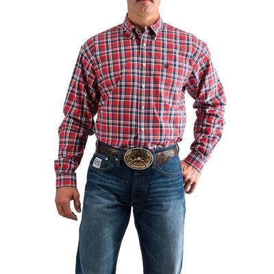 Cinch Men's Red Navy And White Plaid Western Shirt