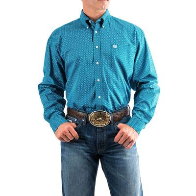 Cinch Men's Teal Geometric Print Button Shirt