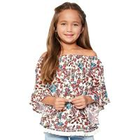 Hayden Girl's Floral Off The Shoulder Trimmed Top