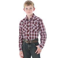 Wrangler Boy's Long Sleeve Plaid Snap Shirt