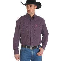 Wrangler Men's Magenta And Black George Strait Shirt