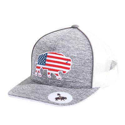 Red Dirt Hat Co.'s Heather Grey USA Buffalo With Piping Cap