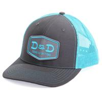 D&D Texas Outfitters Charcoal and Neon Blue Trucker Cap