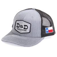 D&D Texas Outfitters Heather Grey and Black Texas Trucker Cap