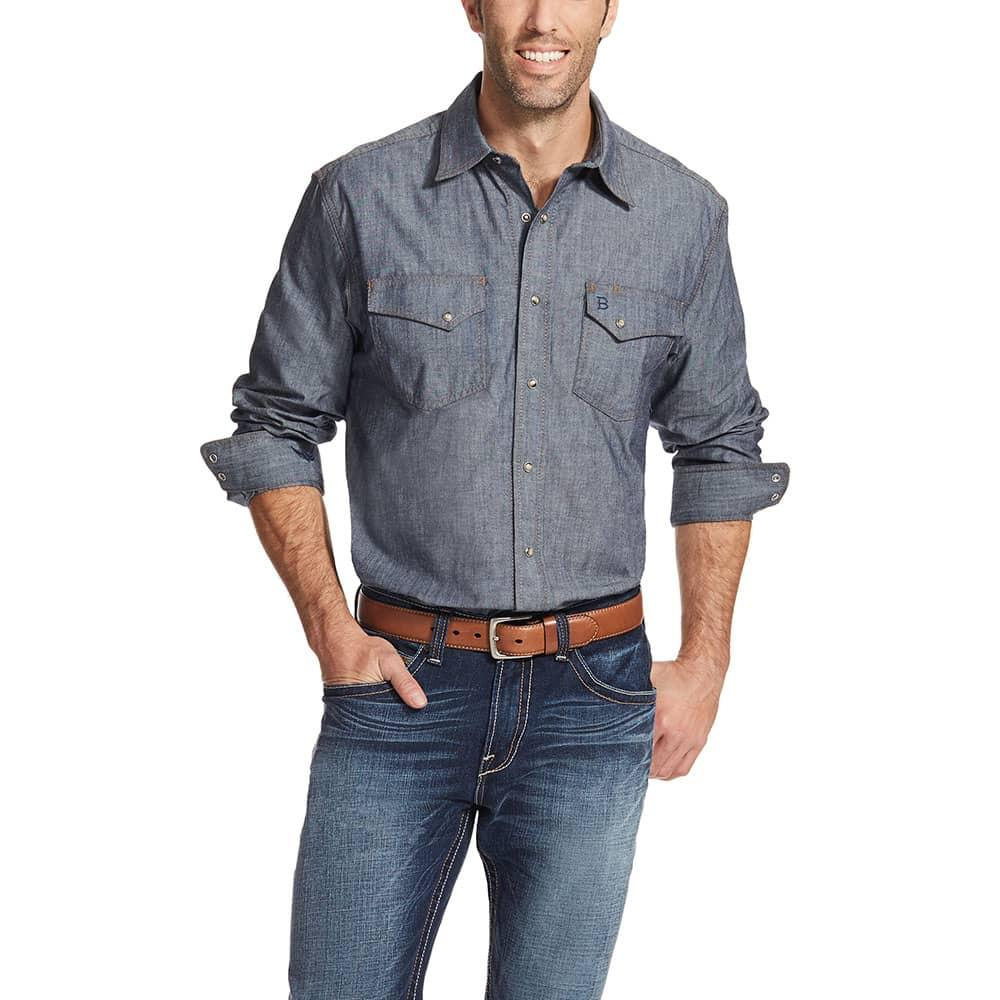 Ariat men 39 s relentless denim snap shirt for Mens shirts with snaps instead of buttons