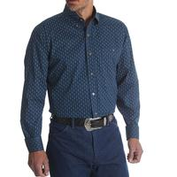 Wrangler Men's Long Sleeve Navy Paisley Button Shirt