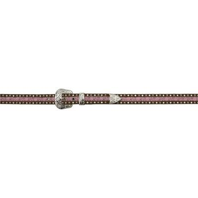 3d Angel Ranch Girl's Brown And Pink Fashion Belt