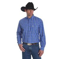 Wrangler Men's George Strait Long Sleeve Blue Plaid Shirt