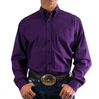 Cinch Men's Long Sleeve Purple Geometric Print Shirt