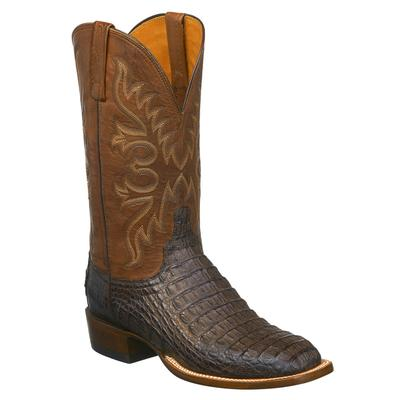 Lucchese Men's Barrel Brown Hornback Caiman Boot