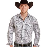 Panhandle Slim Men's Bardalona Distressed Antique Print Shirt