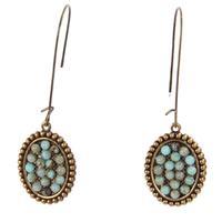 Pink Panache's Bronze Mini Oval Turquoise Hanging Earrings