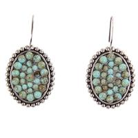 Pink Panache's Silver Small Oval Turquoise Earring