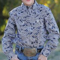 Cinch Boy's Long Sleeve Navy Paisley Shirt
