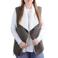 Dylan Women's Distressed Bonded Sherpa Snap Vest