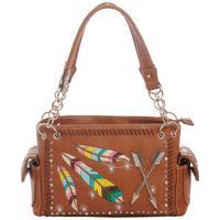 Women's Embroidered Feather Concealed Gun Handbag